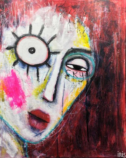 Painting quirky colourful portrait