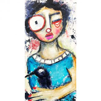Whimsical folk art figure with crow