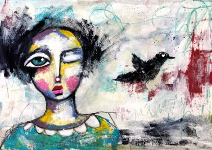 Whimsical painting with quirky face and bird