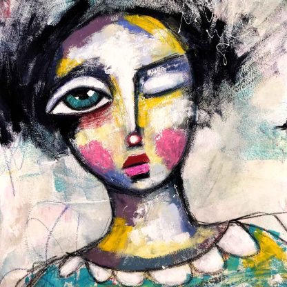 Whimsical painting with quirky face